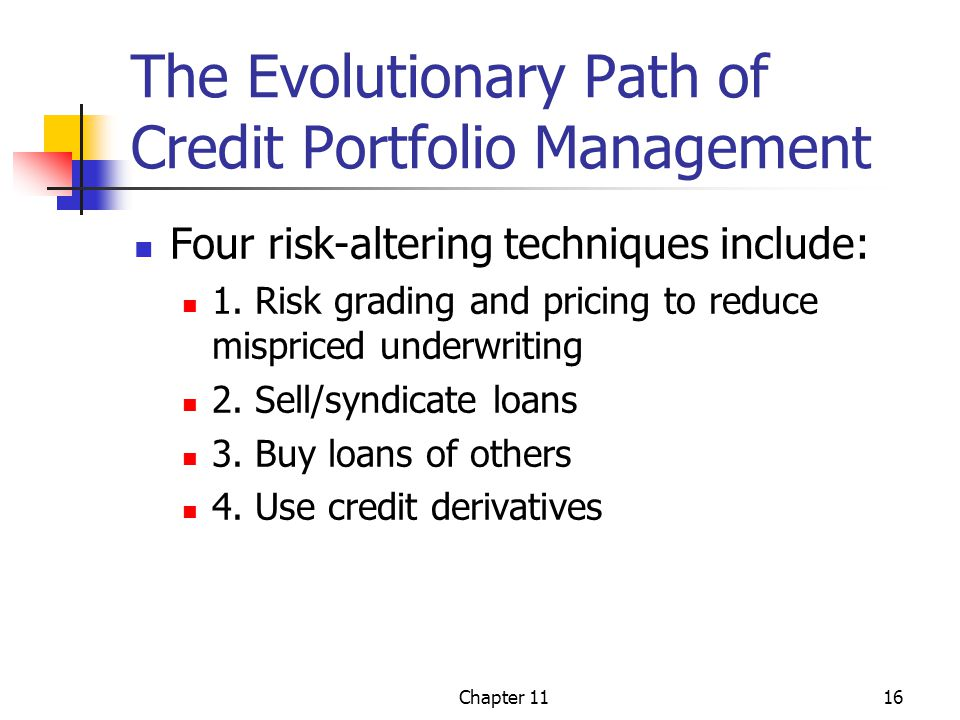 Chapter 1116 The Evolutionary Path of Credit Portfolio Management Four risk-altering techniques include: 1.