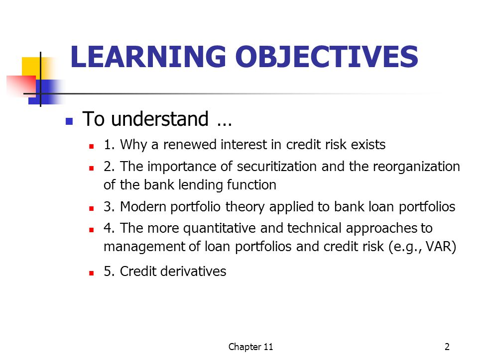 Chapter 112 LEARNING OBJECTIVES To understand … 1. Why a renewed interest in credit risk exists 2. The importance of securitization and the reorganiza