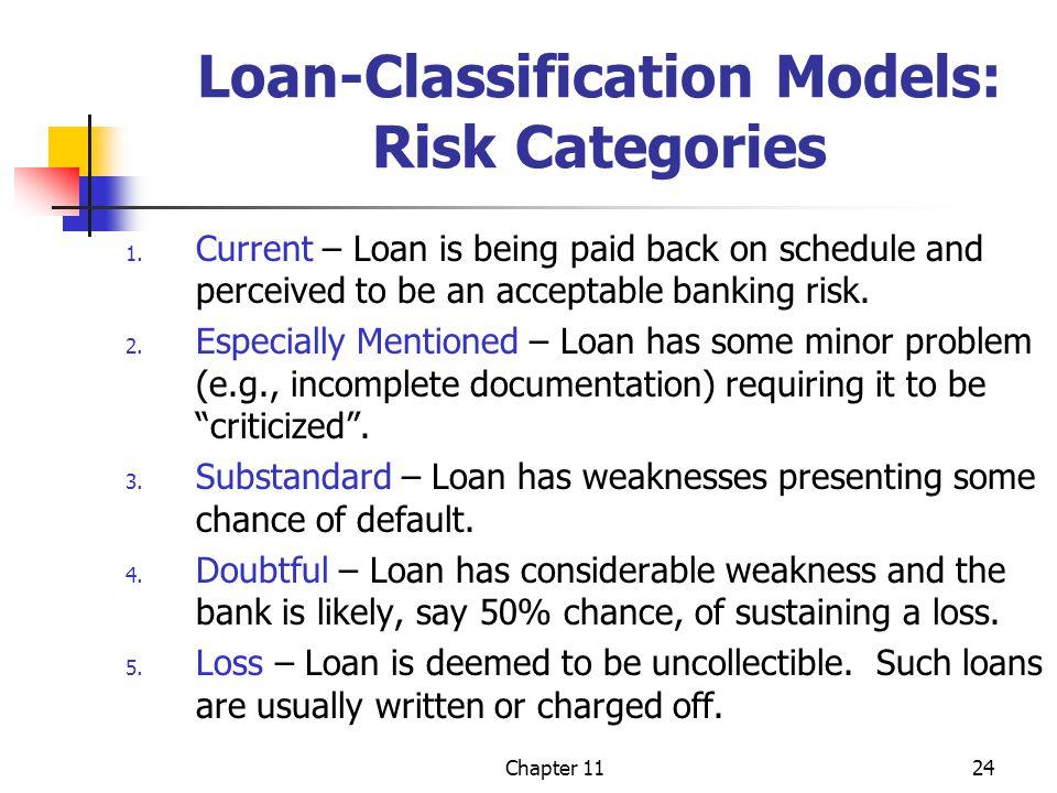 Chapter 1124 Loan-Classification Models: Risk Categories 1.