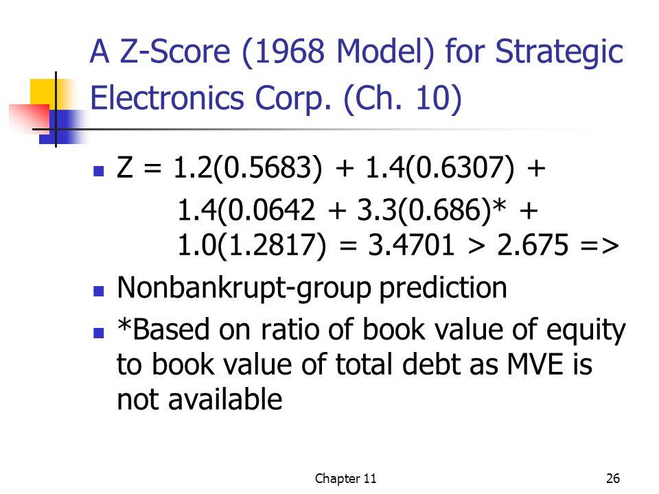 Chapter 1126 A Z-Score (1968 Model) for Strategic Electronics Corp.