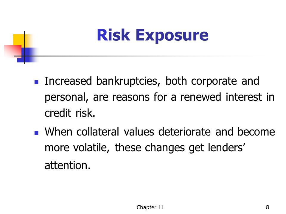 Chapter 118 Risk Exposure Increased bankruptcies, both corporate and personal, are reasons for a renewed interest in credit risk. When collateral valu