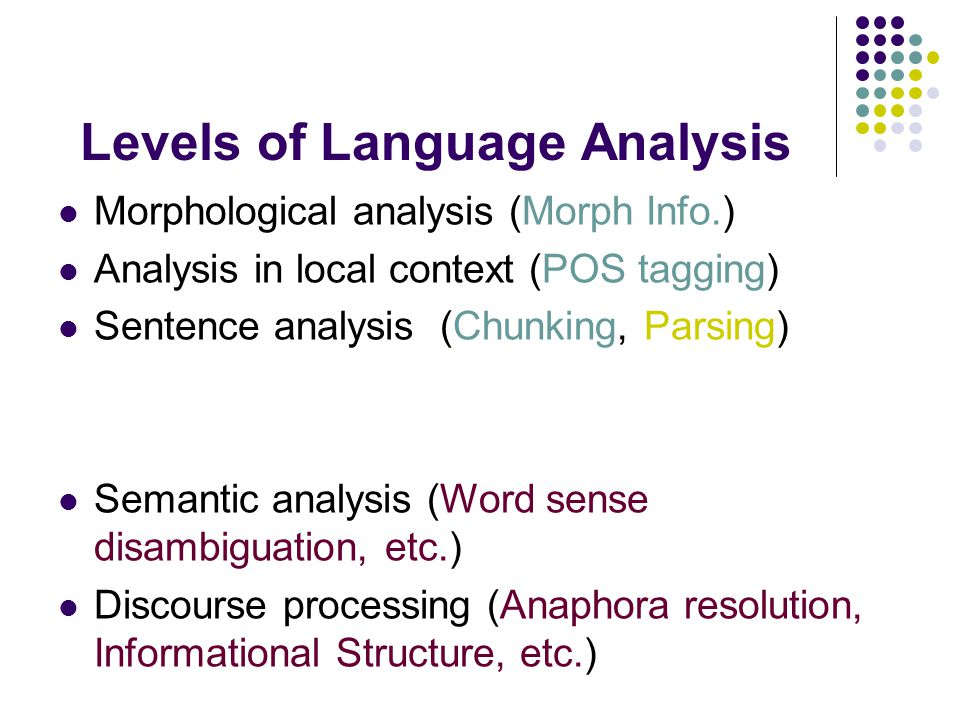Levels of Language Analysis Morphological analysis (Morph Info.) Analysis in local context (POS tagging) Sentence analysis (Chunking, Parsing) Semantic analysis (Word sense disambiguation, etc.) Discourse processing (Anaphora resolution, Informational Structure, etc.)