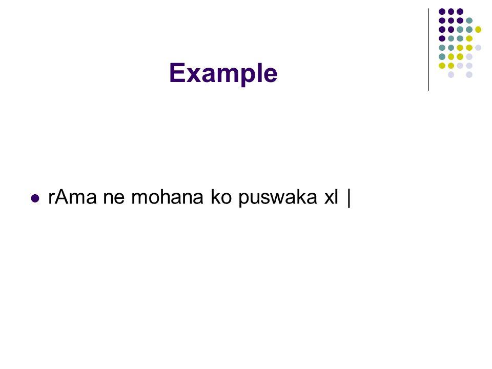 Example rAma ne mohana ko puswaka xI |