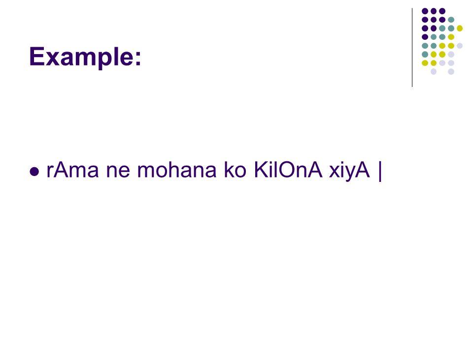 Example: rAma ne mohana ko KilOnA xiyA |