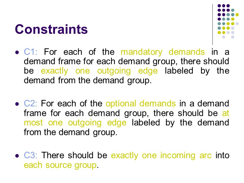 Constraints C1: For each of the mandatory demands in a demand frame for each demand group, there should be exactly one outgoing edge labeled by the demand from the demand group.