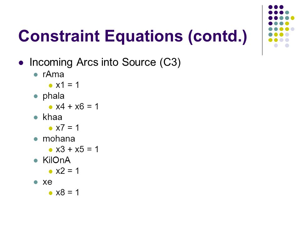 Constraint Equations (contd.) Incoming Arcs into Source (C3) rAma x1 = 1 phala x4 + x6 = 1 khaa x7 = 1 mohana x3 + x5 = 1 KilOnA x2 = 1 xe x8 = 1