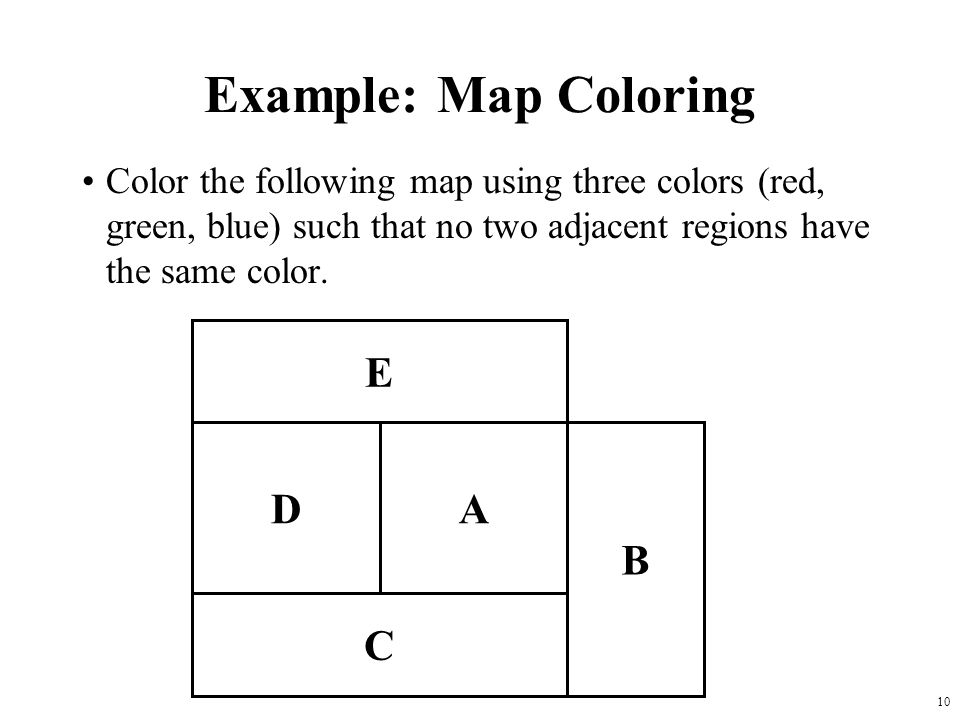10 Example: Map Coloring Color the following map using three colors (red, green, blue) such that no two adjacent regions have the same color.