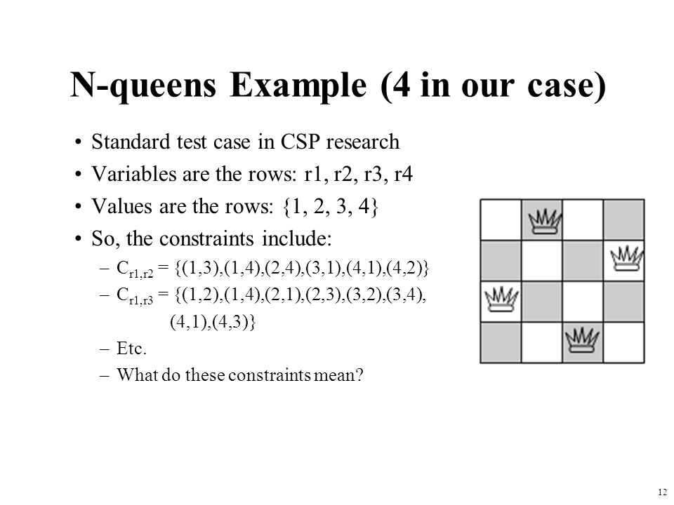 12 N-queens Example (4 in our case) Standard test case in CSP research Variables are the rows: r1, r2, r3, r4 Values are the rows: {1, 2, 3, 4} So, the constraints include: –C r1,r2 = {(1,3),(1,4),(2,4),(3,1),(4,1),(4,2)} –C r1,r3 = {(1,2),(1,4),(2,1),(2,3),(3,2),(3,4), (4,1),(4,3)} –Etc.