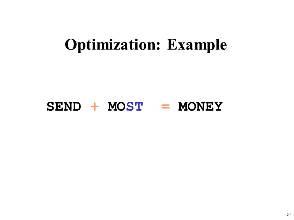 57 Optimization: Example SEND + MOST = MONEY
