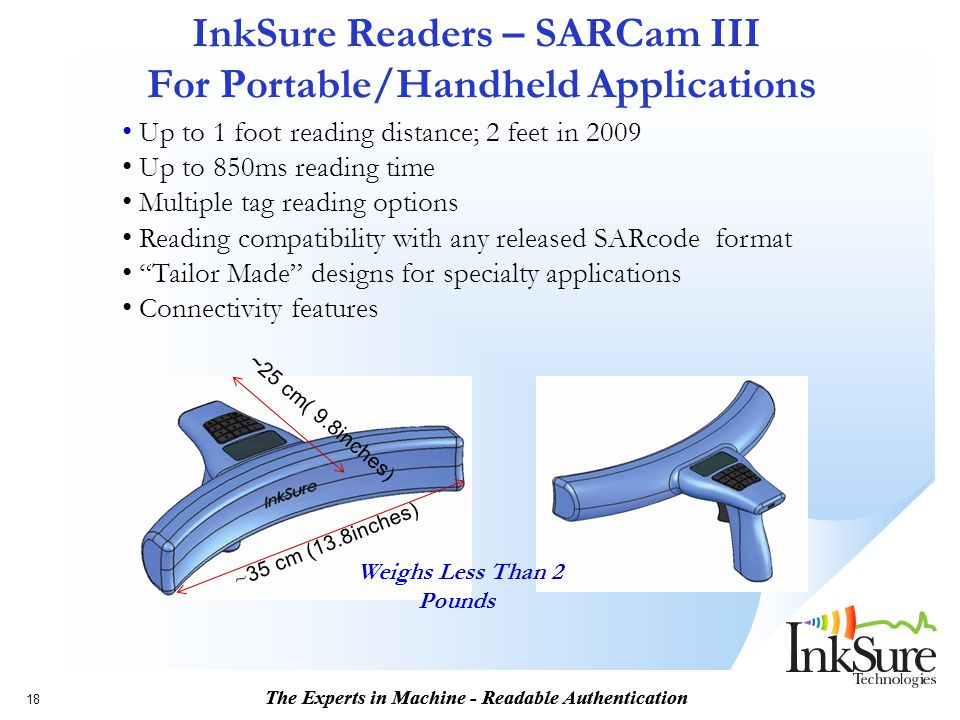 The Experts in Machine - Readable Authentication InkSure Readers – SARCam III For Portable/Handheld Applications ~ 35 cm (13.8inches) ~25 cm( 9.8inche