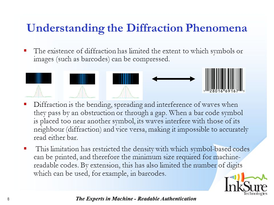 The Experts in Machine - Readable Authentication 8 Understanding the Diffraction Phenomena  The existence of diffraction has limited the extent to wh