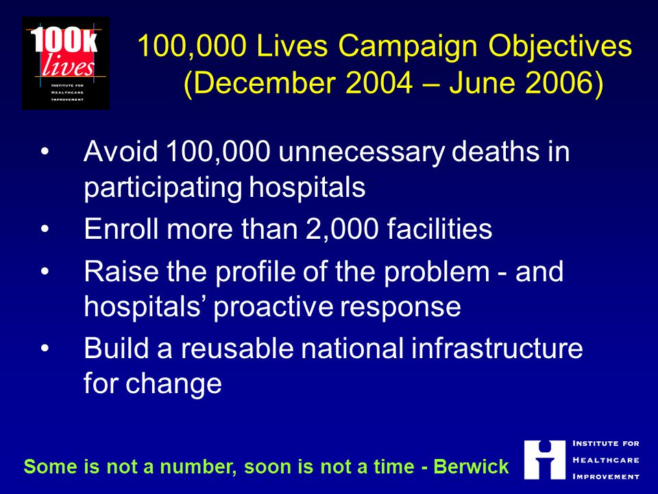 100,000 Lives Campaign Objectives (December 2004 – June 2006) Avoid 100,000 unnecessary deaths in participating hospitals Enroll more than 2,000 facilities Raise the profile of the problem - and hospitals' proactive response Build a reusable national infrastructure for change Some is not a number, soon is not a time - Berwick