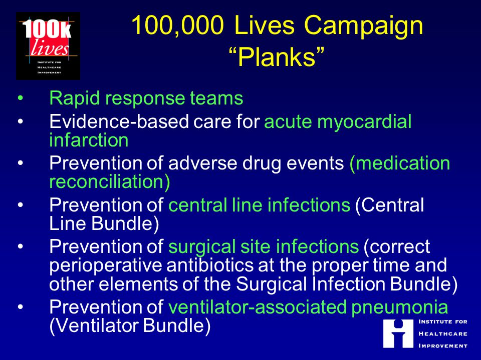 100,000 Lives Campaign Planks Rapid response teams Evidence-based care for acute myocardial infarction Prevention of adverse drug events (medication reconciliation) Prevention of central line infections (Central Line Bundle) Prevention of surgical site infections (correct perioperative antibiotics at the proper time and other elements of the Surgical Infection Bundle) Prevention of ventilator-associated pneumonia (Ventilator Bundle)