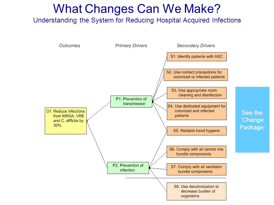 What Changes Can We Make? Understanding the System for Reducing Hospital Acquired Infections See the 'Change Package'