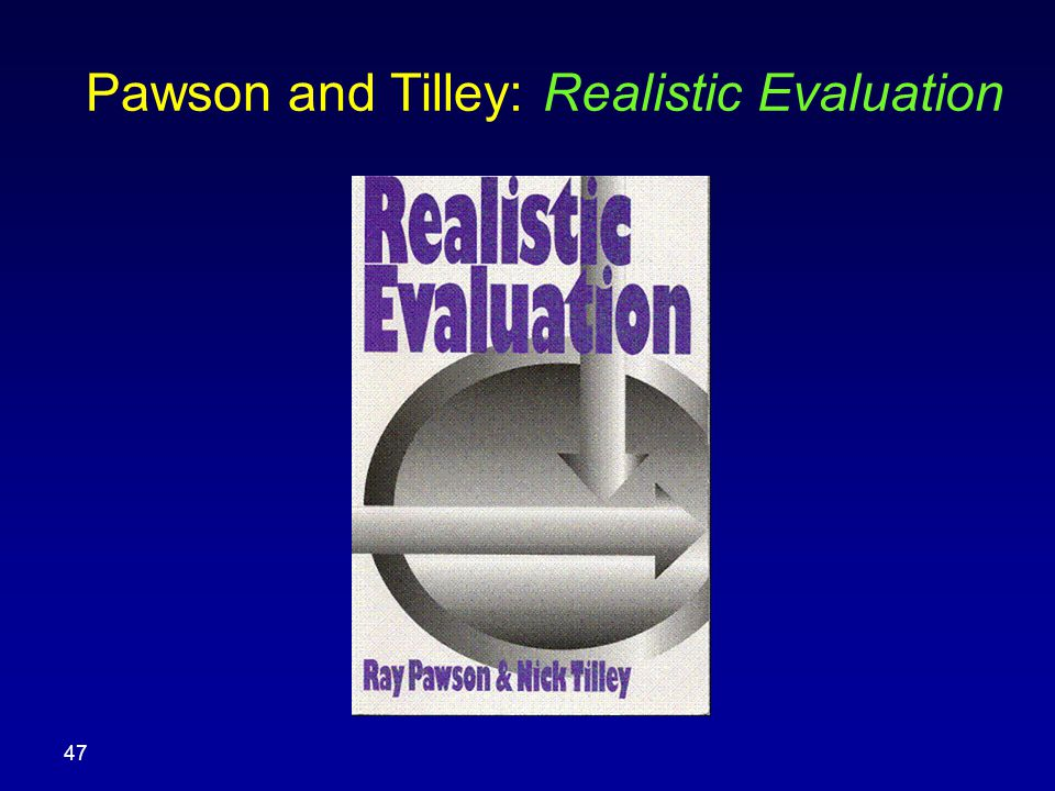 47 Pawson and Tilley: Realistic Evaluation