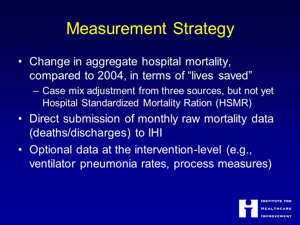 Measurement Strategy Change in aggregate hospital mortality, compared to 2004, in terms of lives saved –Case mix adjustment from three sources, but not yet Hospital Standardized Mortality Ration (HSMR) Direct submission of monthly raw mortality data (deaths/discharges) to IHI Optional data at the intervention-level (e.g., ventilator pneumonia rates, process measures)