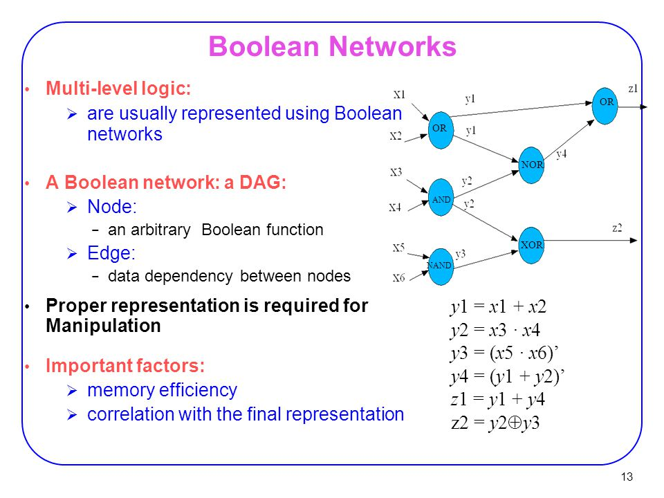 13 Multi-level logic:  are usually represented using Boolean networks A Boolean network: a DAG:  Node: − an arbitrary Boolean function  Edge: − dat