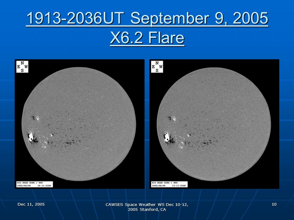 Dec 11, 2005 CAWSES Space Weather WS Dec 10-12, 2005 Stanford, CA 10 1913-2036UT September 9, 2005 X6.2 Flare