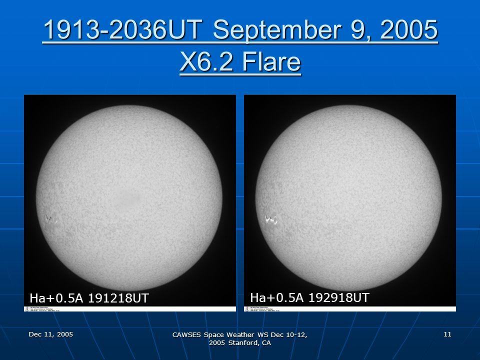 Dec 11, 2005 CAWSES Space Weather WS Dec 10-12, 2005 Stanford, CA 11 1913-2036UT September 9, 2005 X6.2 Flare Ha+0.5A 191218UT Ha+0.5A 192918UT