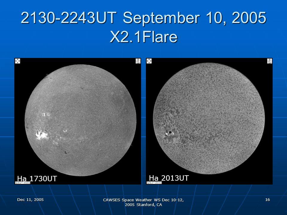 Dec 11, 2005 CAWSES Space Weather WS Dec 10-12, 2005 Stanford, CA 16 2130-2243UT September 10, 2005 X2.1Flare Ha 1730UT Ha 2013UT