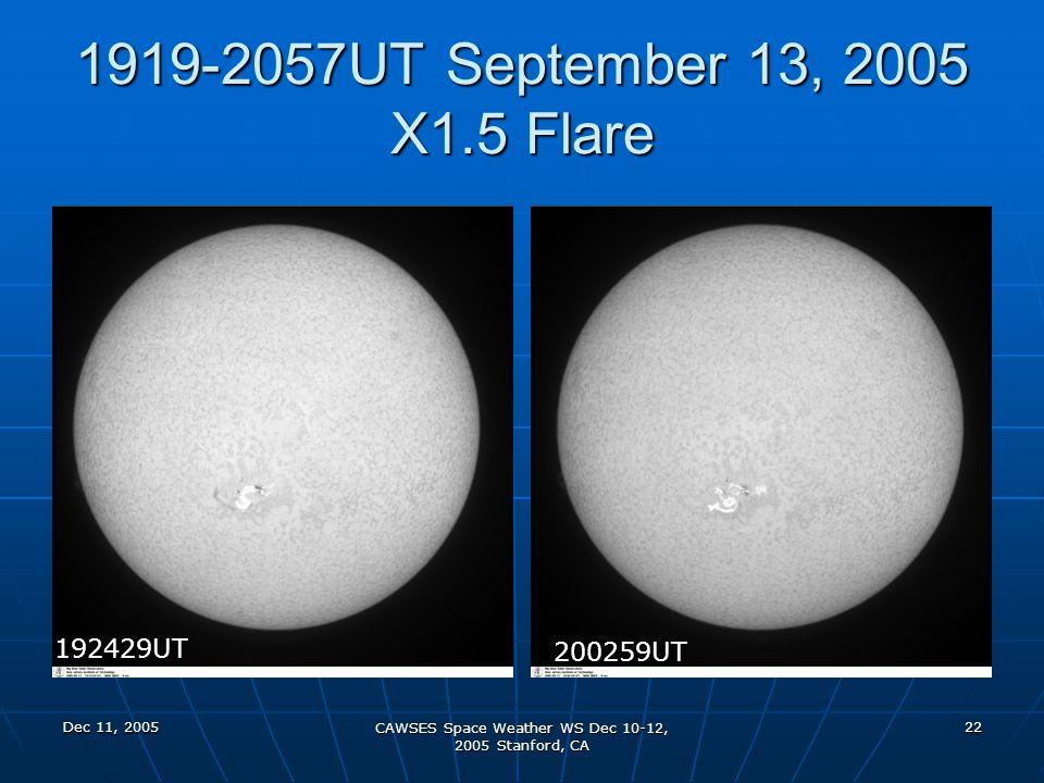 Dec 11, 2005 CAWSES Space Weather WS Dec 10-12, 2005 Stanford, CA 22 1919-2057UT September 13, 2005 X1.5 Flare 192429UT 200259UT