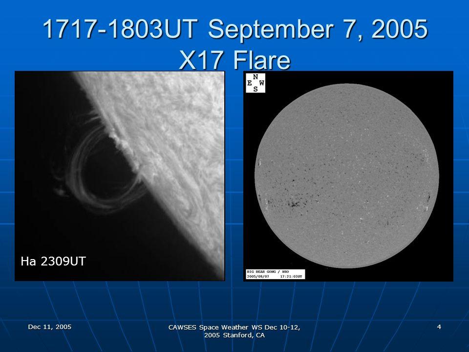 Dec 11, 2005 CAWSES Space Weather WS Dec 10-12, 2005 Stanford, CA 4 1717-1803UT September 7, 2005 X17 Flare Ha 2301UT Ha 2309UT