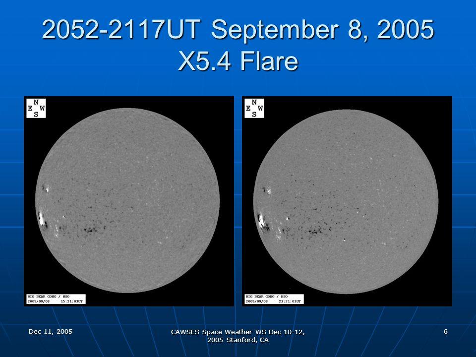 Dec 11, 2005 CAWSES Space Weather WS Dec 10-12, 2005 Stanford, CA 17 1244-1353UT September 11, 2005 M3.0 Flare
