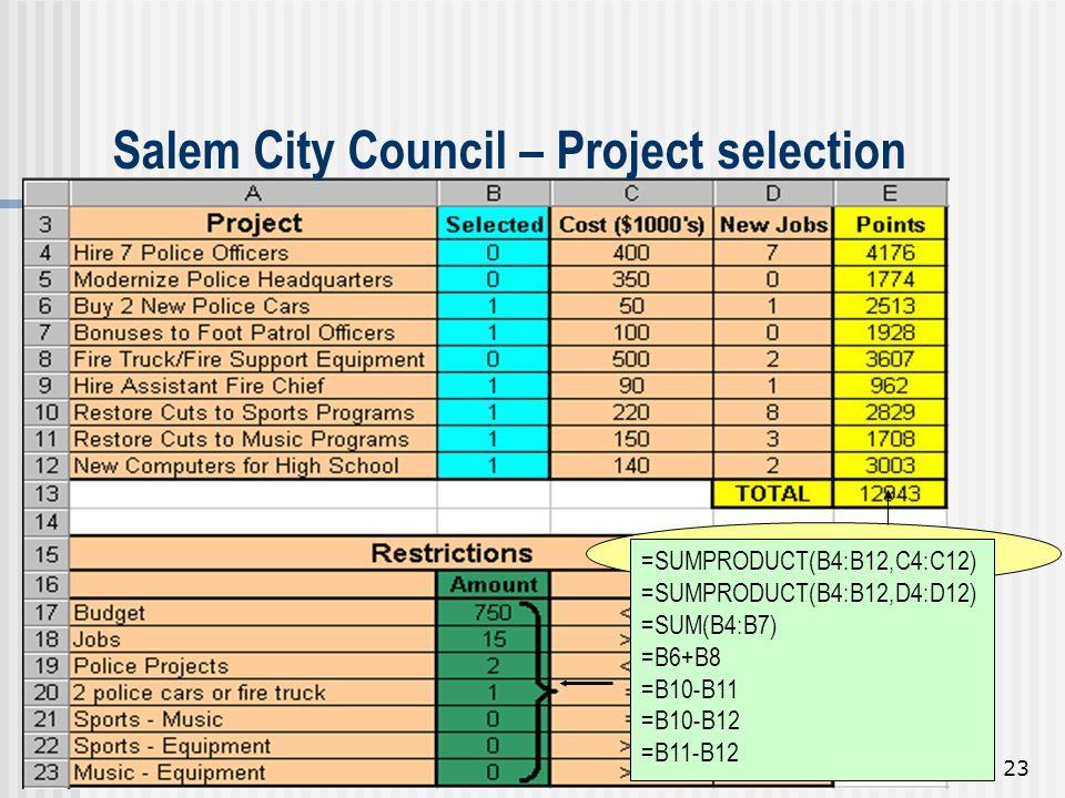 23 Salem City Council – Project selection =SUMPRODUCT(B4:B12,E4:E1 2) =SUMPRODUCT(B4:B12,C4:C12) =SUMPRODUCT(B4:B12,D4:D12) =SUM(B4:B7) =B6+B8 =B10-B1