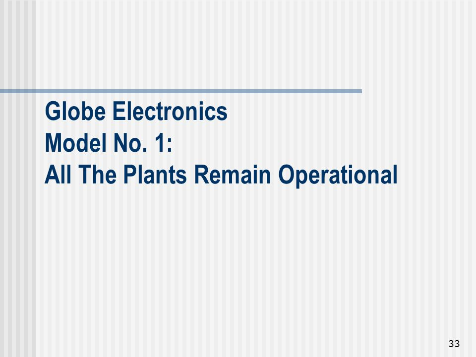 33 Globe Electronics Model No. 1: All The Plants Remain Operational