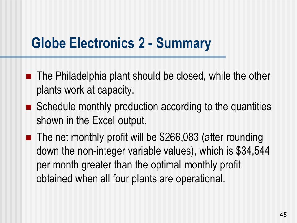 45 Globe Electronics 2 - Summary The Philadelphia plant should be closed, while the other plants work at capacity. Schedule monthly production accordi