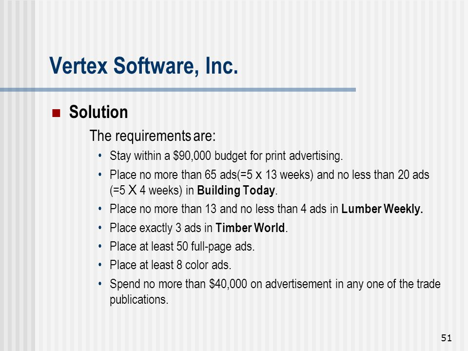 51 Solution The requirements are: Stay within a $90,000 budget for print advertising. Place no more than 65 ads(=5 x 13 weeks) and no less than 20 ads