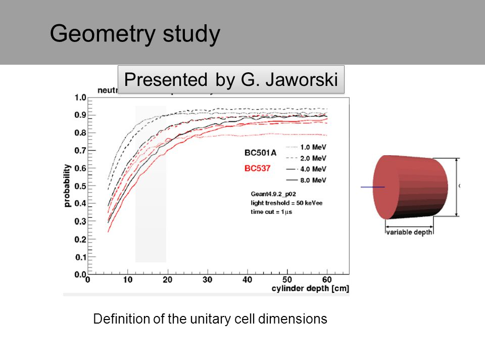 Geometry study Definition of the unitary cell dimensions Presented by G. Jaworski