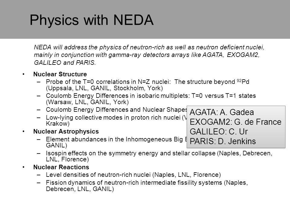 Physics with NEDA Nuclear Structure –Probe of the T=0 correlations in N=Z nuclei: The structure beyond 92 Pd (Uppsala, LNL, GANIL, Stockholm, York) –C