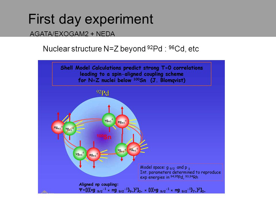 First day experiment Nuclear structure N=Z beyond 92 Pd : 96 Cd, etc AGATA/EXOGAM2 + NEDA