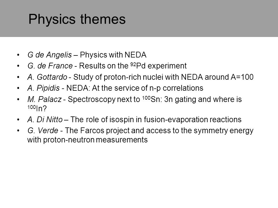Physics themes G de Angelis – Physics with NEDA G. de France - Results on the 92 Pd experiment A. Gottardo - Study of proton-rich nuclei with NEDA aro