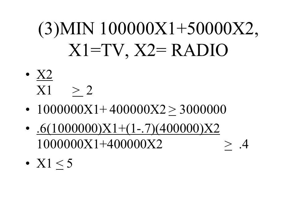 (3)MIN 100000X1+50000X2, X1=TV, X2= RADIO X2 X1 > 2 1000000X1+ 400000X2 > 3000000.6(1000000)X1+(1-.7)(400000)X2 1000000X1+400000X2 >.4 X1 < 5