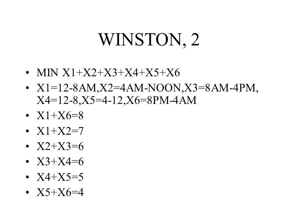 WINSTON, 2 MIN X1+X2+X3+X4+X5+X6 X1=12-8AM,X2=4AM-NOON,X3=8AM-4PM, X4=12-8,X5=4-12,X6=8PM-4AM X1+X6=8 X1+X2=7 X2+X3=6 X3+X4=6 X4+X5=5 X5+X6=4