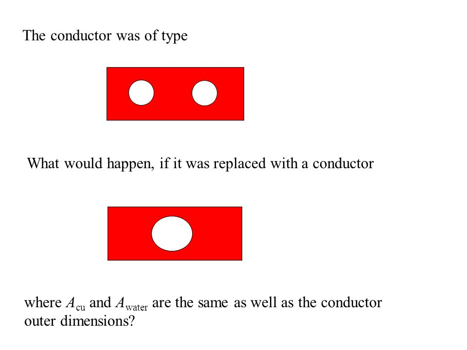 The conductor was of type What would happen, if it was replaced with a conductor where A cu and A water are the same as well as the conductor outer dimensions