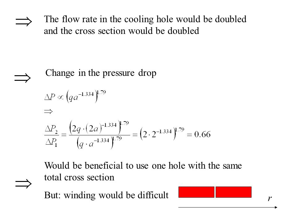 The flow rate in the cooling hole would be doubled and the cross section would be doubled Change in the pressure drop Would be beneficial to use one h