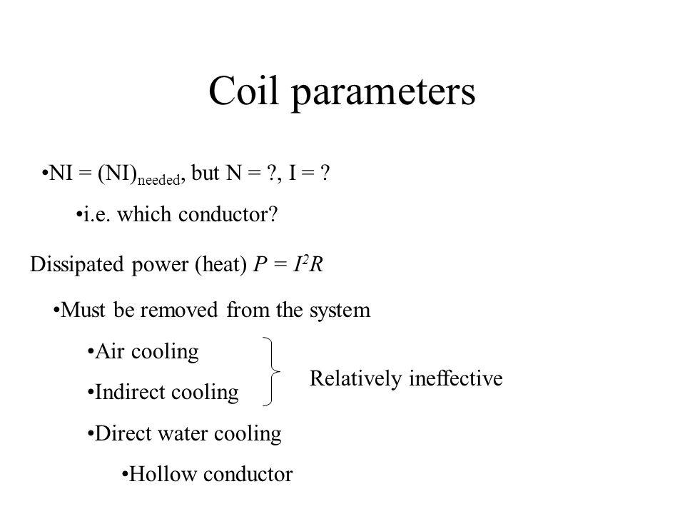 Coil parameters NI = (NI) needed, but N = ?, I = .