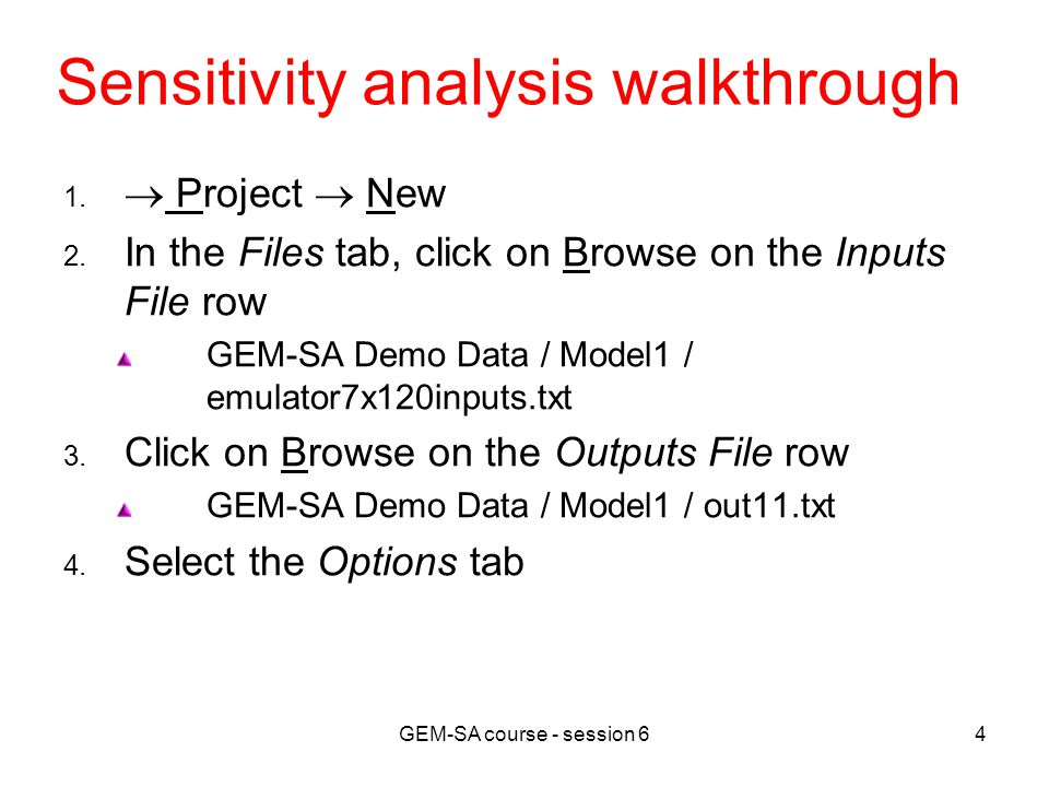GEM-SA course - session 64 Sensitivity analysis walkthrough 1.