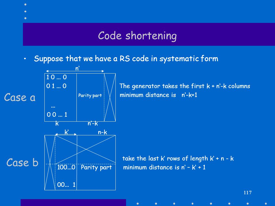 Code shortening Suppose that we have a RS code in systematic form n' 10...