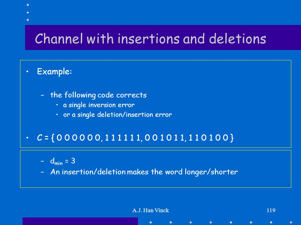 A.J. Han Vinck119 Channel with insertions and deletions Example: –the following code corrects a single inversion error or a single deletion/insertion