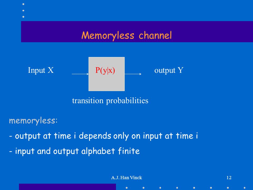 A.J. Han Vinck12 Memoryless channel Input X P(y|x)output Y transition probabilities memoryless: - output at time i depends only on input at time i - i