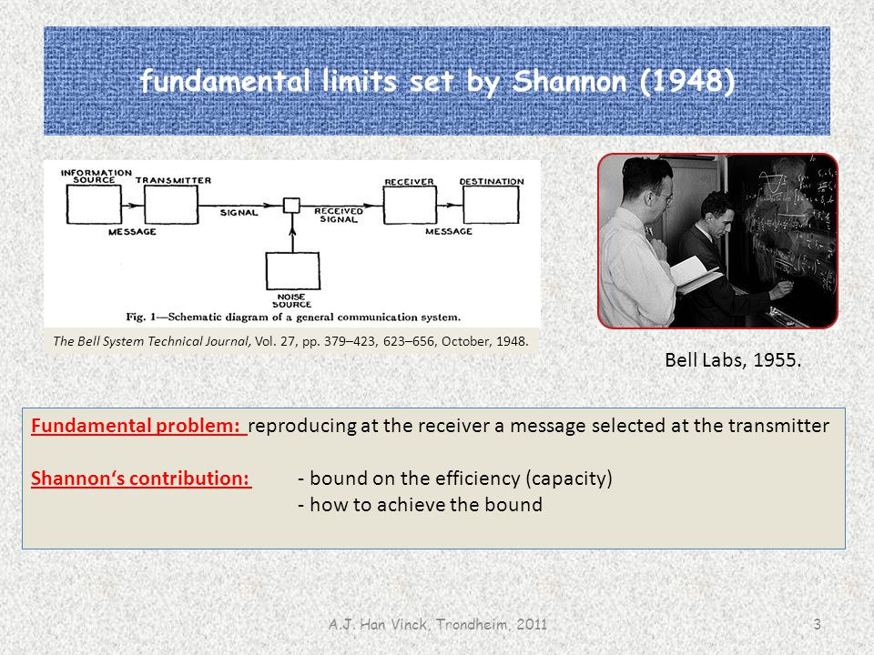 fundamental limits set by Shannon (1948) Bell Labs, 1955. A.J. Han Vinck, Trondheim, 20113 Fundamental problem: reproducing at the receiver a message