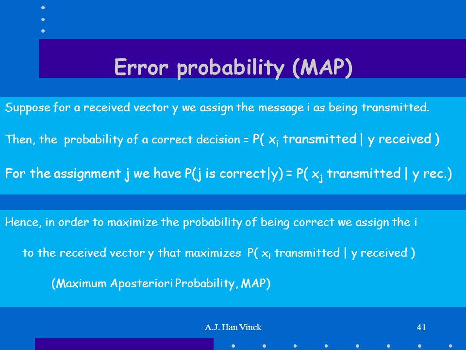 A.J. Han Vinck41 Error probability (MAP) Suppose for a received vector y we assign the message i as being transmitted. Then, the probability of a corr