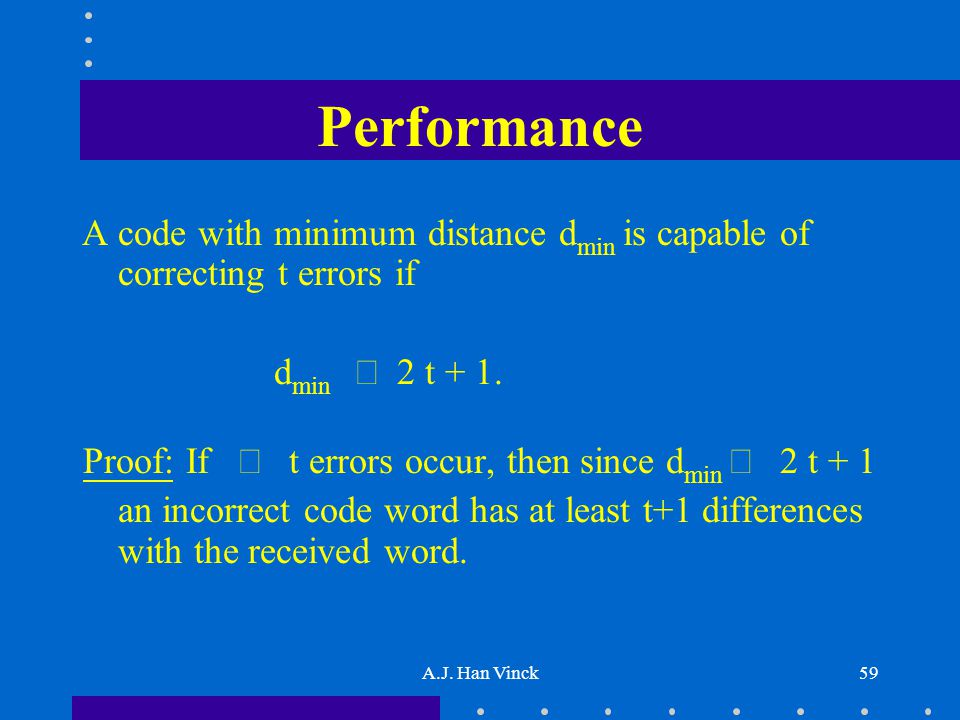 A.J. Han Vinck59 Performance A code with minimum distance d min is capable of correcting t errors if d min  2 t + 1. Proof: If  t errors occur, then