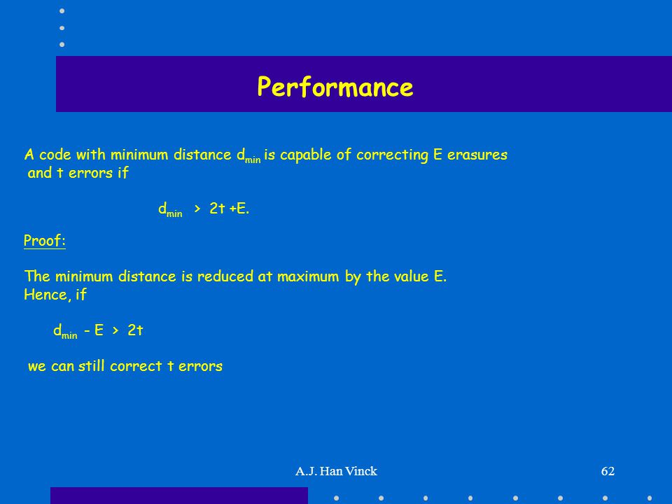A.J. Han Vinck62 Performance A code with minimum distance d min is capable of correcting E erasures and t errors if d min > 2t +E. Proof: The minimum