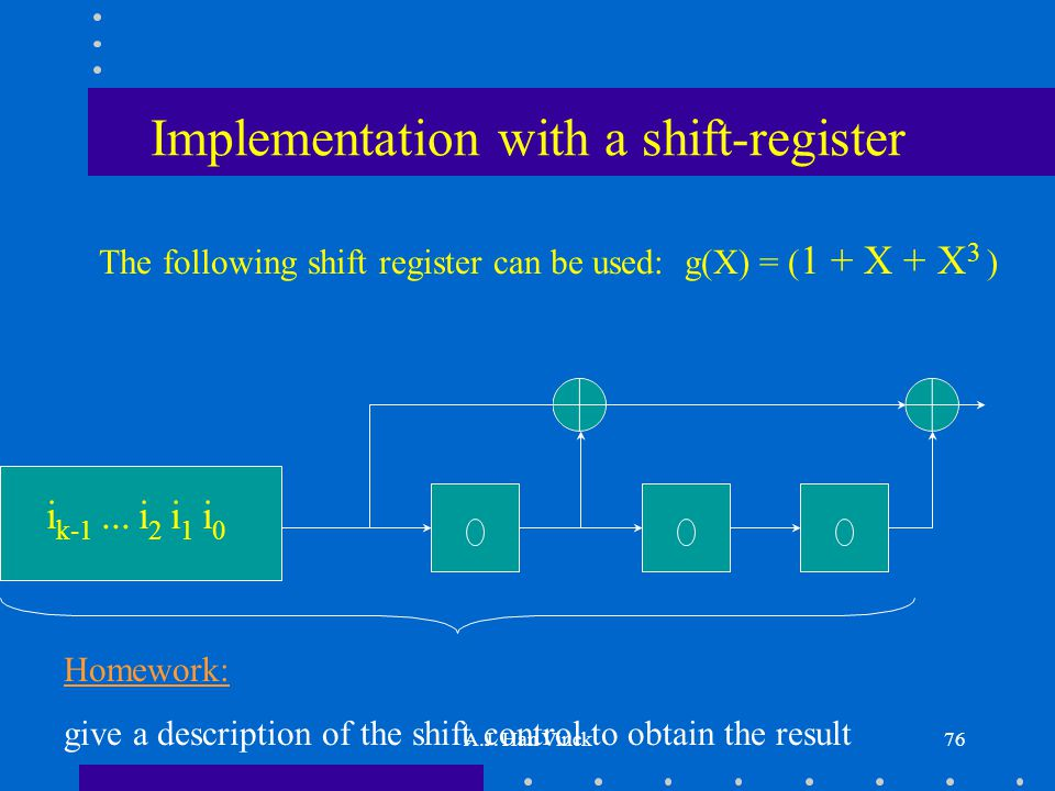 A.J. Han Vinck76 Implementation with a shift-register The following shift register can be used: g(X) = ( 1 + X + X 3 ) i k-1... i 2 i 1 i 0 Homework: