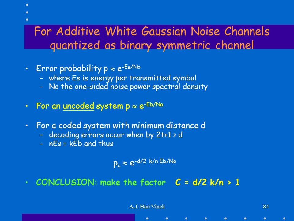 A.J. Han Vinck84 For Additive White Gaussian Noise Channels quantized as binary symmetric channel Error probability p  e -Es/No –where Es is energy p